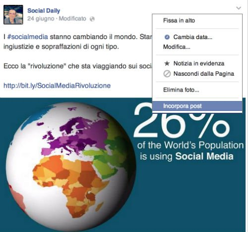 Incorporare Facebook Post