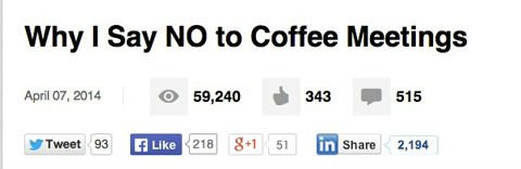 Why I Say NO to Coffee Meetings