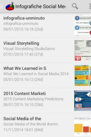 Screenshot App SocialDaily Infografiche