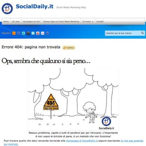 La mia pagina di errore 404