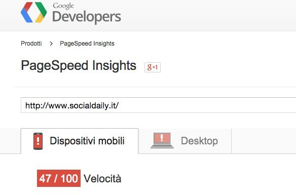Pagespeed Mobile Vecchio Hosting