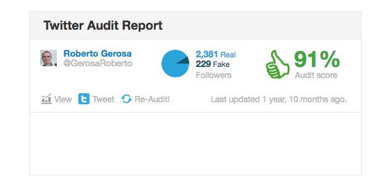 Fake Follower con TwitterAudit